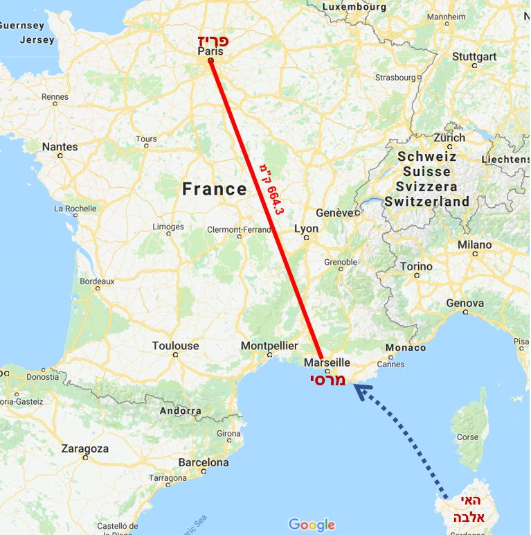 מפת מסלול נפוליאון מהאי אלבה לפריז